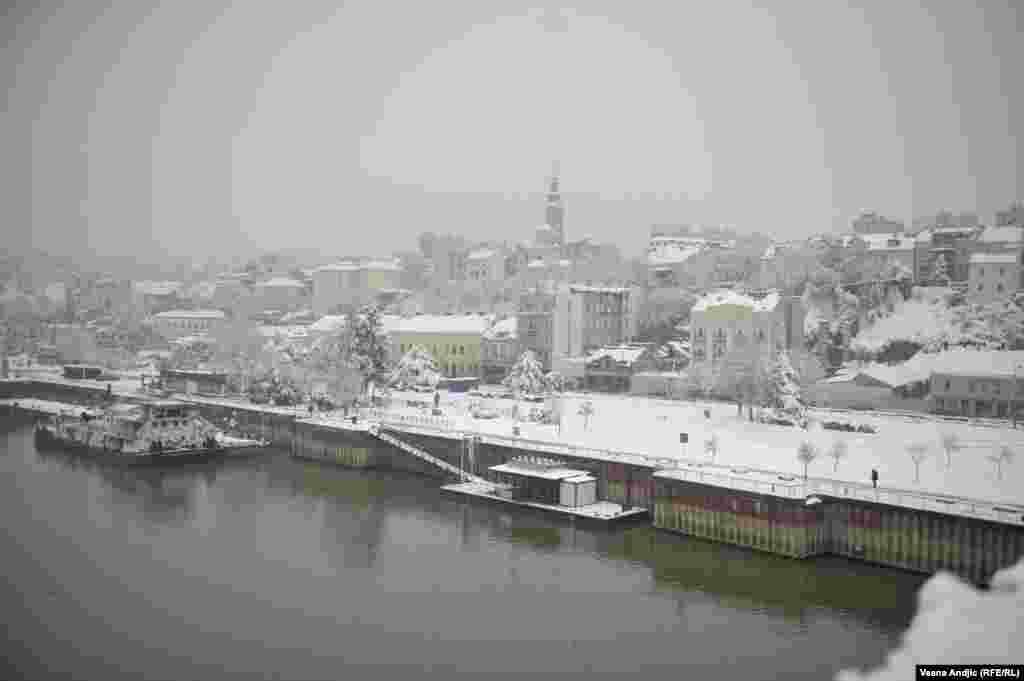 Beograd pod snegom, pogled sa Brankovog mosta