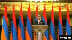 Armenia - President Serzh Sarkisian speaks at a solemn reception on the occasion of the 20th Anniversary of Armenia's Independence, Yerevan,15Sep,2011