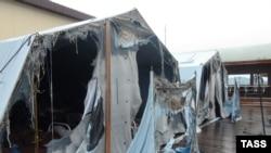 Пожар в палаточном городке в России