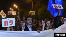 "Armenia -- A rally against the constitutional amendments in Gyumri, the banner reads ""NO"", 25 Sep, 2015"