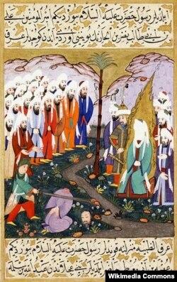 Həzrət Əli peyğəmbərin hüzurunda qılıncı ilə düşmənin boynunu vurur.