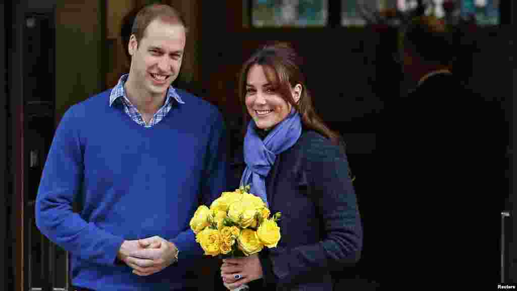 Prince William leaves the King Edward VII hospital in London with his wife, Catherine, the Duchess of Cambridge. Catherine, who is pregnant, spent four days being treated for acute morning sickness. (Reuters/Andrew Winning)