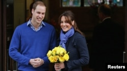 Prince William and his wife Catherine, Duchess of Cambridge, leaving the King Edward VII hospital in London in December.