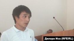 Гражданский активист Суин Абулда в суде в городе Шымкенте.