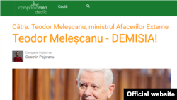 Campania online în care se cere demisia ministrului de externe român, Teodor Meleșcanu, 27 mai 2019