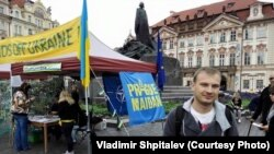 Vladimir Špitaljov na akciji podške Ukrajini u Pragu