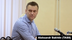 Aleksei Navalny attends a court hearing in Kirov on January 31.