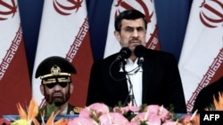Iranian President Mahmud Ahmadinejad delivers a speech during the Army Day parade in Tehran on April 18.
