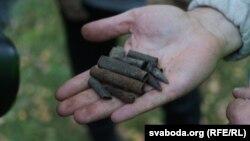 Гільзы, выяўленыя падчас раскопак у Курапатах