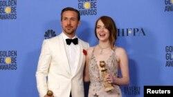 La-La Land filminin baş rol ifaçıları Ryan Gosling və Emma Stone.