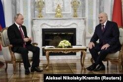 Уладзімір Пуцін і Аляксандар Лукашэнка ў Менску, 19 чэрвеня 2018
