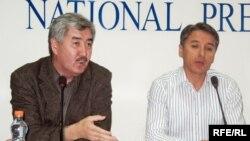 Оппозиция лидерлері Болат Әбілев пен Әміржан Қосанов, Алматы, 24 қыркүйек 2008 ж.
