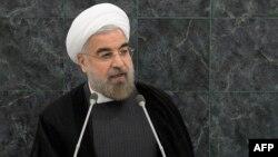 Иран президенті Хассан Роухани БҰҰ-да сөз сөйлеп тұр. Нью-Йорк, 26 қыркүйек 2013 жыл