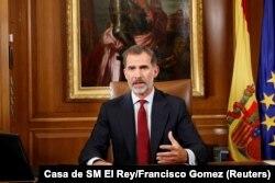 Іспанський король Феліпе виступає із заявою в палаці Сарсуела. Мадрид, 3 жовтня 2017 р.