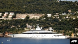 A yacht belonging to Russian billionaire Roman Abramovich moored on the French Riviera