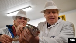 Британският премиер Борис Джонсън позира с риба в ръце през декември 2019 г.