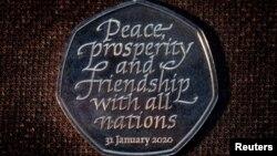 Брытанская манэта на памятку выхаду Брытаніі з Эўразьвязу 31 студзеня 2020