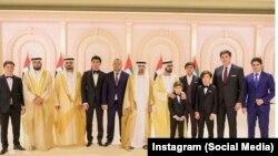 Сын, зятья и внук президента Узбекистана Шавката Мирзияева на свадьбе сыновей эмира Дубая. Фото взято из страницы Отабека Умарова в Instagram.