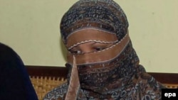 Asia Bibi sits inside the central jail in Sheikhupura in Punjab Province in November 2010.
