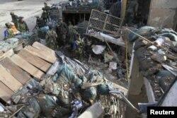 Руины полицейского участка в колумбийском городке Инса, взорванного FARC в декабре 2013 года
