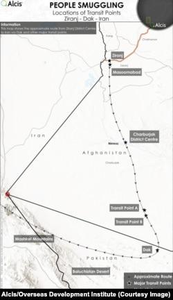 Embercsempész-útvonalak Afganisztánból Iránba