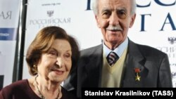 Goar Vartanian with her husband in Moscow in December 2010.