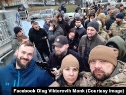 Акція ветеранів бойових дій під будівлею Міністерства оборони України щодо незгоди із висловлюванням полковника Олексія Ноздрачова. Київ, 13 грудня 2019 року