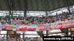 Беларускія заўзятары на матчы з Украінай