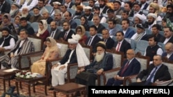 Afghan President Ashraf Ghani and senior political figures attend the opening session of the Loya Jirga on April 29.