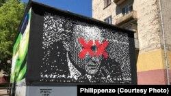 """Граффити """"Двадцать"""" уличного художника Philippenzo"""