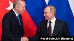 Президенты Эрдоган и Путин на встрече в Москве, 05.03.2020