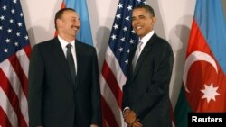 U.S. - U.S. President Barack Obama (R) meets with Azerbaijan's President Ilham Aliyev on the sidelines of the United Nations General Assembly in New York, 24Sep2010