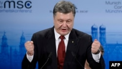 Germsny -- Ukraine's President Petro Poroshenko gives a speech during the 51st Munich Security Conference (MSC) in Munich, February 7, 2015