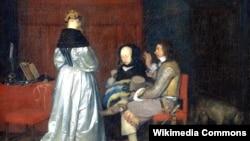 """Герард Тэрборх, """"Ветлівая размова"""" (1654)."""