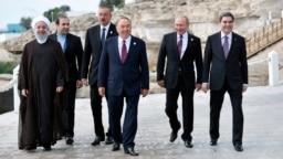 Iranian President Hassan Rohani (left), Azerbaijani President Ilham Aliyev (third from left), Kazakh President Nursultan Nazarbaev (center), Russian President Vladimir Putin (second from right), and Turkmen President Gurbanguly Berdymukhammedov (right) at the Caspian Sea summit in Aqtau earlier this month.