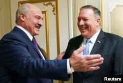 Аляксандар Лукашэнка і дзяржсакратар ЗША Майк Пампэо, Менск, 1 лютага 2020