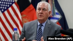 U.S. Secretary of State Rex Tillerson speaks to the media at Bagram Airfield on October 23.