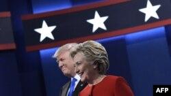 Дональд Трамп и Хиллари Клинтон во время теледебатов