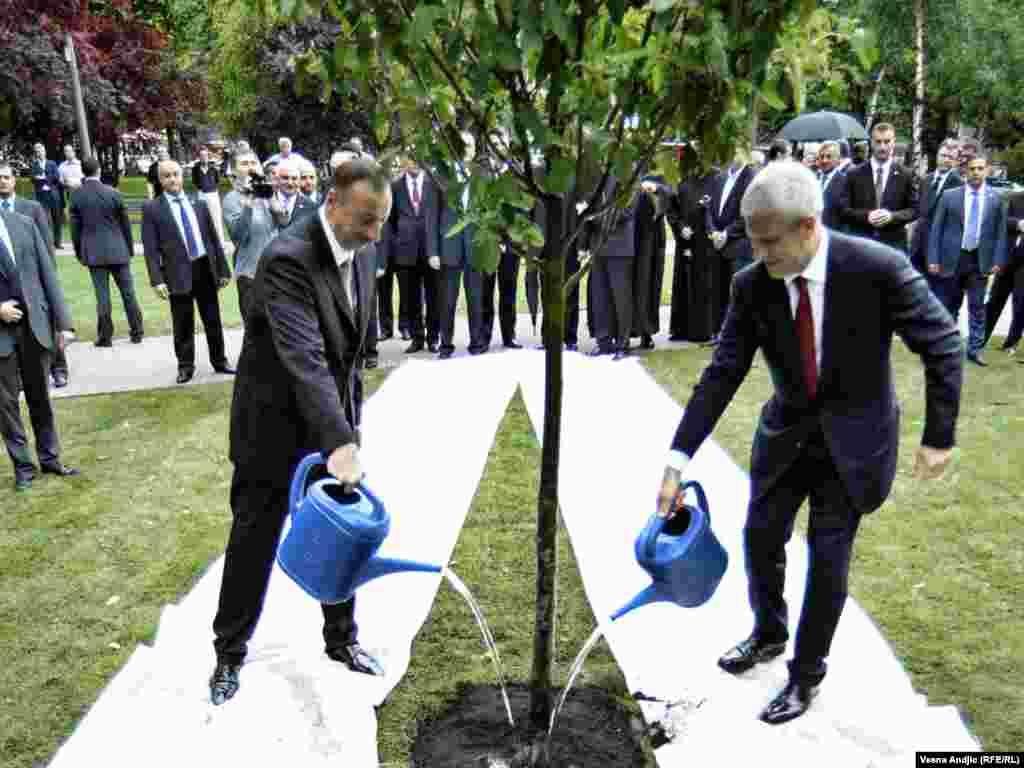 Predsednici Azerbejdžana Ilham Aliev i Srbije Boris Tadić na otvaranju parka