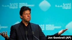 Pakistani Prime Minister Imran Khan speaks during the World Government Summit in Dubai, February 10, 2019