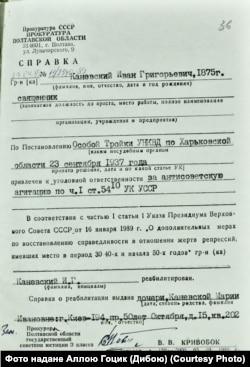 Довідка про реабілітацію Івана Каневського