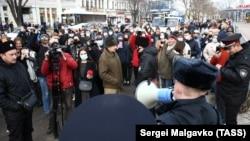 Акция протеста в поддержку Навального в Симферополе