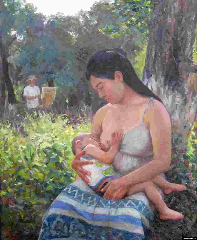 """""""Кормление ребенка"""". По словам автора, на картине он изобразил свою супругу."""
