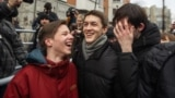 Yegor Zhukov (center) among his jubilant supporters after his release on a suspended sentence on December 6 in Moscow.