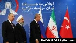 Президенты России, Ирана и Турции на саммите в Тегеране, 7 сентября 2018 года
