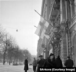 Pe 13 martie 1940, steagul finlandez era arborat în bernă după publicarea acordului de pace