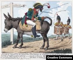 Наполеон в изгнании на острове Эльба. Британская карикатура 1814 года