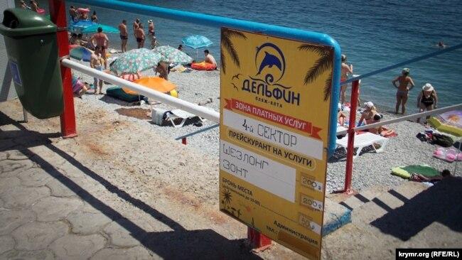 Расценки на пляже «Дельфин» в Ялте