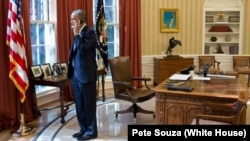 Американскиот претседател Барак Обама во Белата куќа.