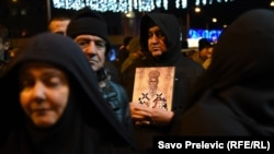 Supporters of the Serbian Orthodox Church protesting in front of the parliament of Montenegro in Podgorica on December 27.